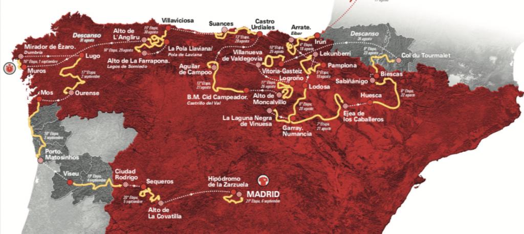 Mapa Vuelta a España 2020